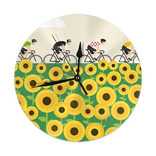 gardenia store Reloj de pared silencioso redondo de carreras, reloj decorativo para niños, sala de estar, dormitorio, oficina, cocina, decoración del hogar