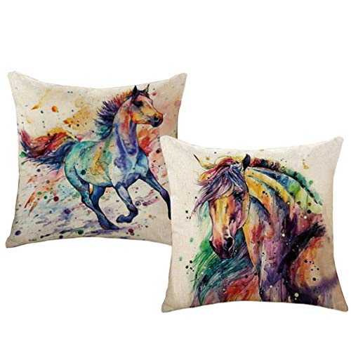 "ULOVE LOVE YOURSELF 2Pack Throw Pillow Covers Watercolor Horse Pillowcases Sofa Couch Home Decorative Cushion Cover 18""×18"" (Horse)"