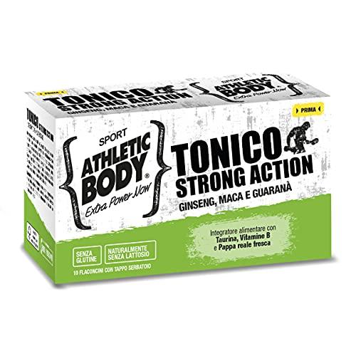 ATHLETIC BODY Tonico Strong Action 10 flaconcini Integratore Alimentare con Ginseng, Maca e Guaranà per la Riduzione della Stanchezza Fisica e Mentale, Integratore Multivitaminico ad Azione Tonica
