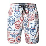 Quecci Pantaloncini Uomo,Costume da Bagno Uomo,Male Board Shorts Swim Trunks 4 July USA Independence Day Water Resistant Surfing Beach Summer Outfit Pants