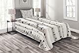 Ambesonne Birch Tree Bedspread, Forest Seasonal Nature Woodland Leafless Branches Grove Botany Illustration, Decorative Quilted 2 Piece Coverlet Set with Pillow Sham, Twin Size, Black and White
