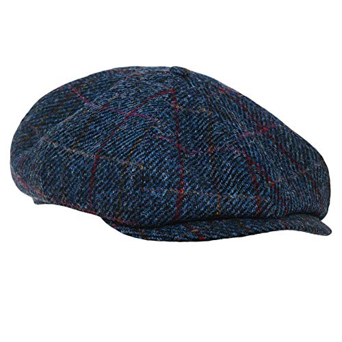 Sterkowski Shelby Cap | 100% Harris Tweed Newsboy Cap for Men | Scally Caps for Men Thomas Shelby Hat Irish Derby Hat Cabby Hat English Driving Cap Scottish Cap Caddie Hat US 6 3/4 Blue/Red Check