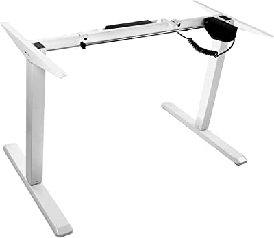 Mount-It! Electric Standing Desk Frame, Single Motor Height Adjustable Motorized Stand Up Desk, Ergonomic, Programmable, Memory and Timer Function, White