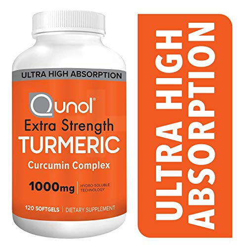Qunol Turmeric Curcumin Softgels, with Ultra High Absorption 1000mg, Joint Support, Dietary Supplement, Extra Strength, 120 Count Softgels