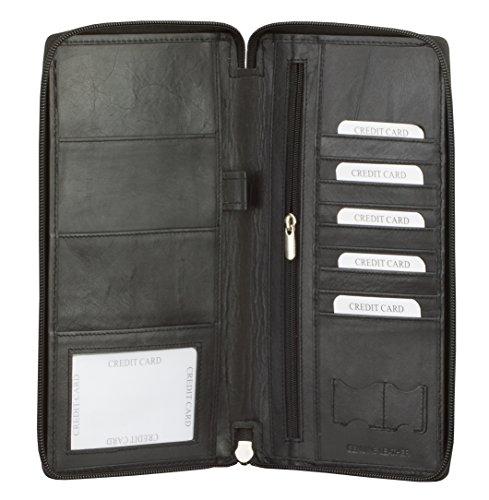Blocco RFID Executive da viaggio Portafoglio Passaporti biometrici Schermo Porta carte di credito e bancomat documento Nero Black 24.5 x 12.5 cm