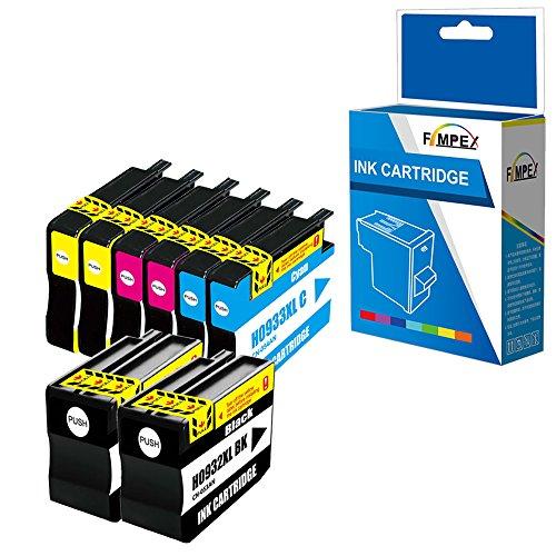 Fimpex Compatible Tinta Cartucho Reemplazo para HP Officejet 6100 6600 6700 7110 7510 7610 7612 932XL 933XL (Negro/Cian/Magenta/Amarillo, 8-Pack)