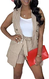 desolateness Women's Two Pieces Outfit Striped Sleeveless Button Blazers Jacket and Short Suit Set
