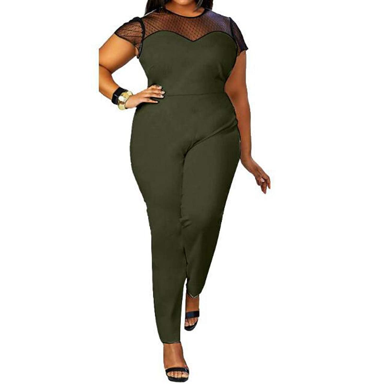Jumpsuit for Women,Casual Short Sleeve Slim Fit Sexy Mesh Lace Splice Rompers Long Pants