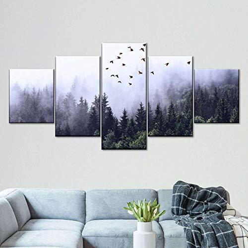 45Tdfc Foto Canvas Cuadro del Forgy Mountain Forest Pájaro Volando |Fotografía Panorámica Impresa en Lienzo|Cuadros Panorámicos Listos para Colgar|Decoración 5 Piezas Tamaño 150x80cm