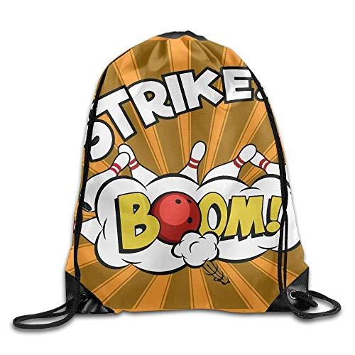 ZHIZIQIU 3D Print Drawstring Bags Bulk, Bowling Balls and Pins Design2 Unisex Outdoor Sack Bag Sport Drawstring Backpack Bag Size: 4133cm