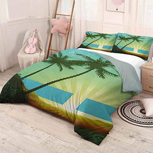 HELLOLEON Island Pure Bedding - Juego de cama de lujo para hotel, diseño de amanecer en un lugar tropical y palmeras, poliéster, suave y transpirable, espuma de mar, color verde lima