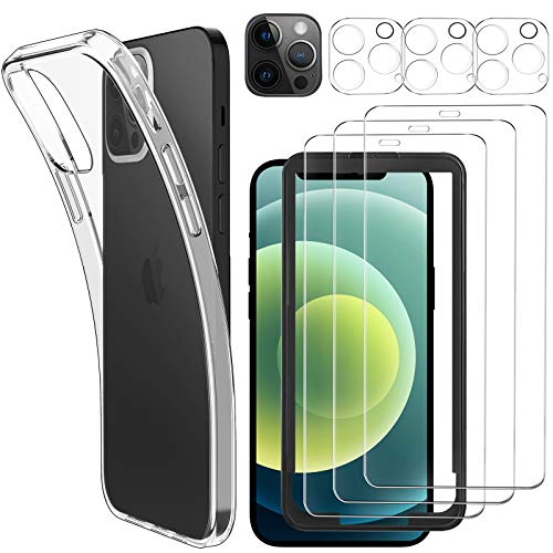 Luibor [7 in 1] Schutzfolie kompatibel mit iPhone 12 Pro Max, Hülle & Kamera Panzerglasfolie, Soft TPU Bumper Hülle, Unterstützt Blitzaufnahmen, 9H Festigkeit, HD Klar Bildschirm, 6.7 Zoll