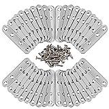 50 pezzi supporto mensola staffa, staffa piastra in acciaio inossidabile, staffa angolare piatta con viti, per fissaggio mobili per riparazione di connettori,76 mm x 16 mm