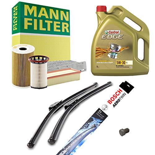 Inspektionspaket MANN-FILTER Inkl. 5L Castrol Edge 5W30 + Scheibenwischer SET P-H-06-00040 Service/Wartung