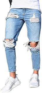 Inlefen Men Tight Leisure Riding Jeans Distressed Destroy Slim fit Jeans