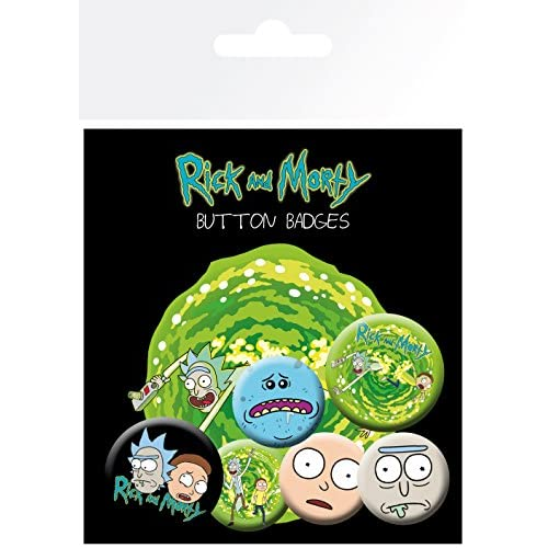 GB eye LTD, Rick and Morty, personaggi, confezione di distintivi, in alluminio, multicolore, 14 x 0,3 x 10 cm