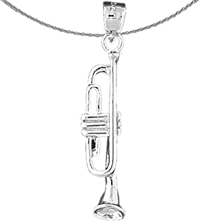 Rhodium-plated 925 Silver Trumpet Pendant with 18 Necklace Jewels Obsession Silver Trumpet Necklace