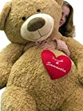 Personalized His and Hers Names on Giant Love and Romance Teddy Bear 5 Feet Tall Soft Valentines Day or Any Day Gift