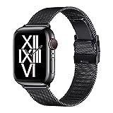AFEKYY Ersatz Armband Kompatibel mit Apple Watch Armband 44mm 42mm 40mm 38mm, Edelstahl Metallband Kompatibel mit Apple Watch Armband 6/5/4/3/2/1, SE.(42MM 44MM,Schwarz)