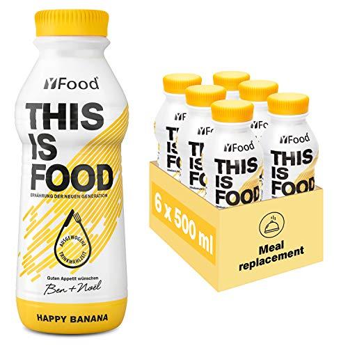 YFood Banane | Laktose und glutenfreier Nahrungsersatz | 34g Protein, 26 Vitamine und Mineralstoffe | Leckere Astronautennahrung - 25% des Kalorienbedarfs | Trinkmahlzeit, 6 x 500 ml (1 kcal/ml)