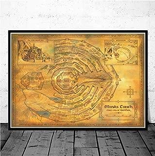 Mapa de la Tierra Media El Señor de los anillos Cartel de la película e impresiones en lienzo de arte pintura de la pared cuadros para la sala de estar decoración para el hogar 40X60 cm Sin marco