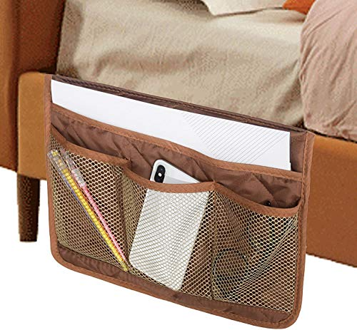 MDSTOP Bedside Caddy, Bedside Storage Bag, Under Couch Table Mattress Organizer, Fits for Book Tablet Magazine Phone Remotes Glasses (Coffee, 13'x18')