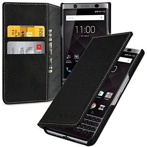 keledes Echtleder Brieftasche Hülle kompatibel mit BlackBerry Keyone, Schwarz