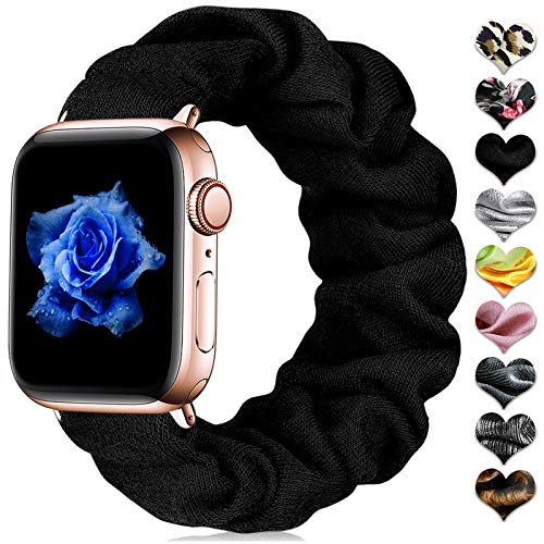 CeMiKa Scrunchie Elastisches Armband Kompatibel mit Apple Watch Armband 38mm 40mm 42mm 44mm, Stoff Armband Kompatibel mit Apple Watch SE/iWatch Series 6 5 4 3 2 1, 42mm/44mm-S/M Schwarz