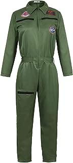 Top Gun Costume Men Adult Women Flight Suit Military Fighter Pilot Jumpsuit Cosplay Halloween