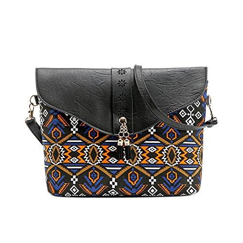 OSYARD Mode Frauen Retro Blumenmuster Schultertaschen Handtaschen Süße Schulter Messenger Bag Damen Umhängetasche Vintage CrossbodyTasche