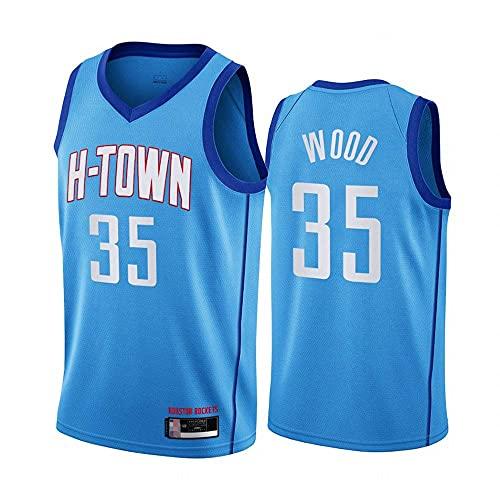 QWE Jerseys de Baloncesto de los Hombres, Houston Rockets # 35 Christian Wood NBA Baloncesto Uniformes Sin Mangas Camisetas Deportes Tops Chalecos, Azul, S (165~170 cm) DOISLL (Color : Blue)