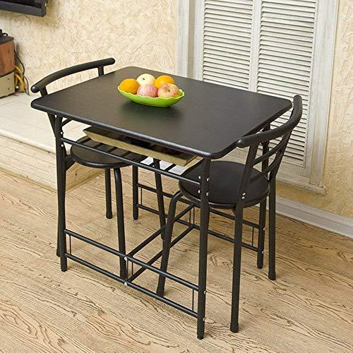 FTFTO Productos para el hogar Mesa y sillas Plegables Mesa para Dos 1 Mesa y 2 sillas Mesa de Desayuno Mesa de Cena 2 Colores Opcional 80 * 60 * 72cm Escritorios (Color: A)