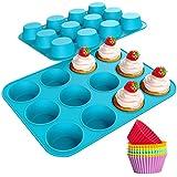 Katbite Molde de silicona para magdalenas, 12 tazas antiadherentes azules, magdalenas reutilizables...