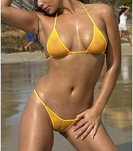 Tinpia See Through Micro Bikini Set Brazilian Sheer Sex Swimwear Beachwear Swimsuit product image