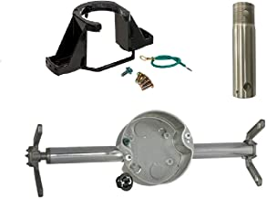 "Ceiling Fan Mounting Kit Bundle, Support Bracket Safe-T-Brace 3 Teeth, Twist and Lock Electrical Box - 4"" Brushed Nickel D..."