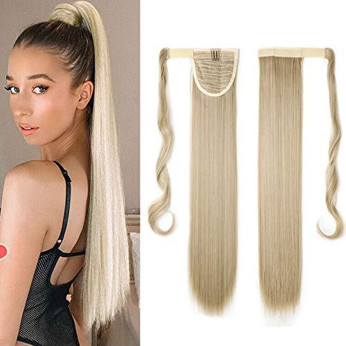 S-noilite Haarteil Zopf Pferdeschwanz Glatt Haarverlängerung Natürlich Wrap on Ponytail Wie Echthaar Hairpiece 58cm Lang Graublond Mix Bleichmittel Blond