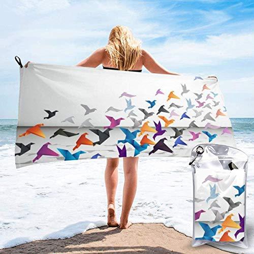 Toalla de Playa Origami 27.5 'X 55',Tulipanes Microfibra de Arena Ultra Suave Portátil Absorbente de Agua Multifibra sin Arena Toalla de Playa Manta