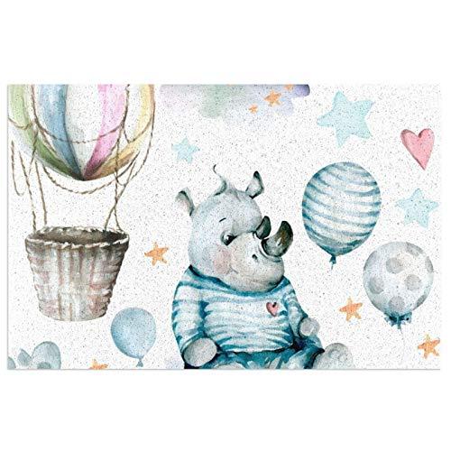 DLJIYZX Felpudo de PVC Dibujo a Mano Acuarela Hildrens Set Lindo Rinoceronte en un Interruptor Flores Azules Globos Alfombra de Entrada Áreas Antideslizantes Alfombra 40X60CM