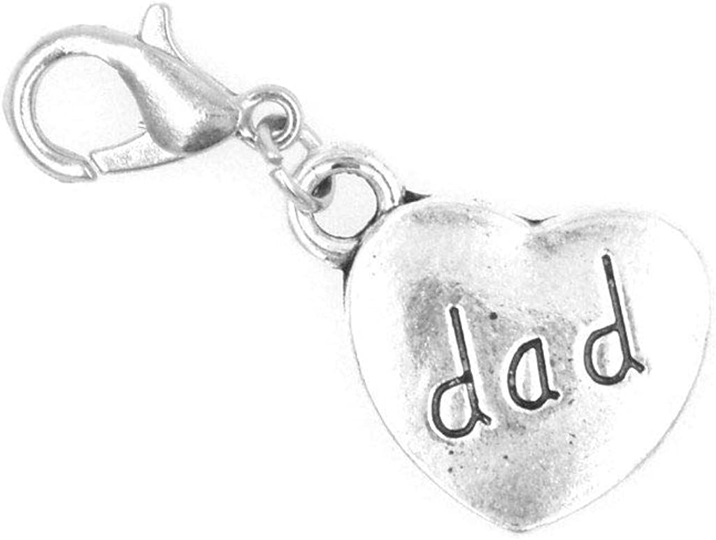 It's All About...You! Heart Dad Clip on Charm Perfect for Necklaces and Bracelets 95O
