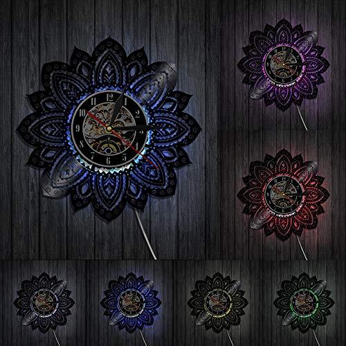 mbbvv Mandala Pared Arte Vinilo Disco Reloj de Pared Vida Flor de Loto Mandala Yoga Buda Ornamento decoración de Pared geométrica Regalo para Ella