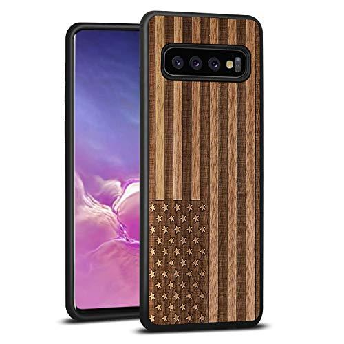 JuBeCo S10+ Case,Galaxy S10+ Wood Case, Wood Slim Case+TPU Bumper for Samsung Galaxy S10+ (6.4inch) - US Flag