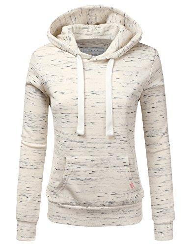Doublju Basic Lightweight Pullover Hoodie Sweatshirt for Women MARLEDOATMEAL Large