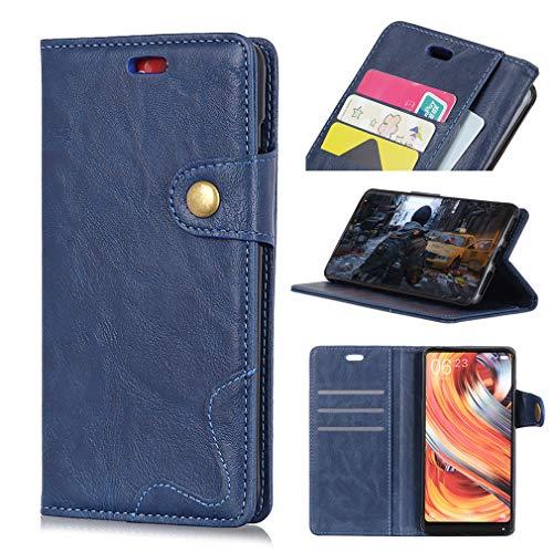 SZHTSWU Hülle für ASUS Zenfone 4 Max/Pro/Plus ZC554KL (5,5 Zoll), S-Typ Crazy Horse Muster PU Leder Tasche Brieftasche Flip Wallet Case Schutzhülle mit Kartenfächern, Blau