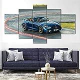 QWASD 5 Piezas de Arte de Pared Lienzo Pintura Cartel Impresión de Lienzo - Wall Lona Paintings - HD Escena Pared Arte Pintura,5 Piezas Lienzo Decoración Coche Deportivo Mer-AMG GT R Roadster