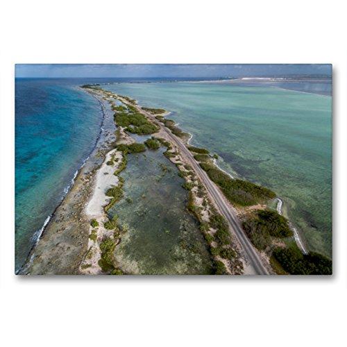 Premium Textil-Leinwand 90 x 60 cm Quer-Format Karibisches Meer mit Salzlagune in Bonaire | Wandbild, HD-Bild auf Keilrahmen, Fertigbild auf hochwertigem Vlies, Leinwanddruck von Ludger Staudinger