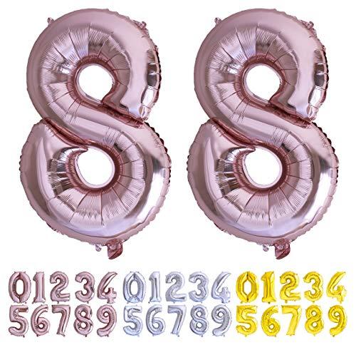 Globo numero 88 Oro Rosa. Globos foil Gigante números 8 8 . del 0 al 100 fiestas cumpleaños decoración fiesta aniversario boda tamaño grande 70 cm con accesorio para inflar aire o helio (88 Oro Rosa)