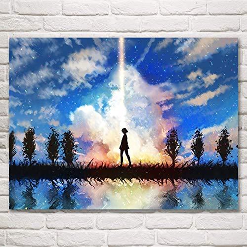 N / A Rahmenloses Malen Ihres Namens Anime Movie Art Seidenplakate und Drucke Wandbilder für Wohnkultur Wohnzimmer52X70cm