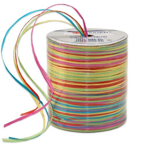 C.E. Pattberg GmbH Prasent 50 m Rayonbast, bast band, groen/roze/meerkleurig