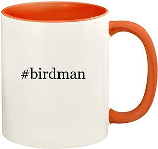 #birdman - 11oz Hashtag Ceramic Colored Handle and Inside Coffee Mug Cup, Orange