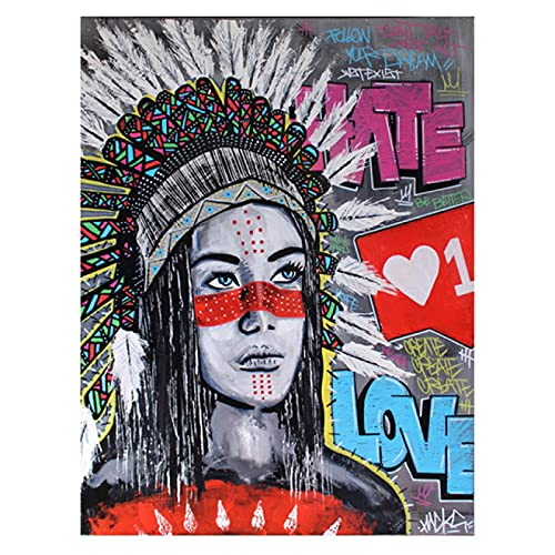 YYAYA.DS Cuadros Decorativos Arte de Graffiti de Mujeres emplumadas Carteles e Impresiones Coloridos decoración de Imagen de Arte de Pared de Calle 60x90cm